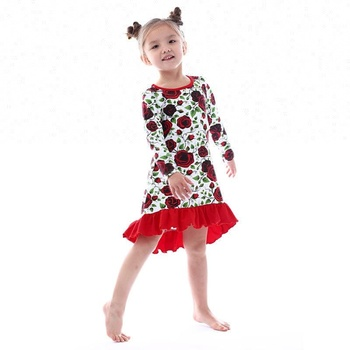 2018 Bulk Wholesale Clothes Red Rose Pattern Baby Dresses Long
