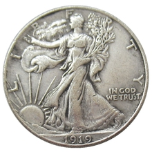 USA 1919-D Walking Liberty Half Dollar Verzilverd Reproductie Decoratieve Herdenkingsmunt Custom Munten