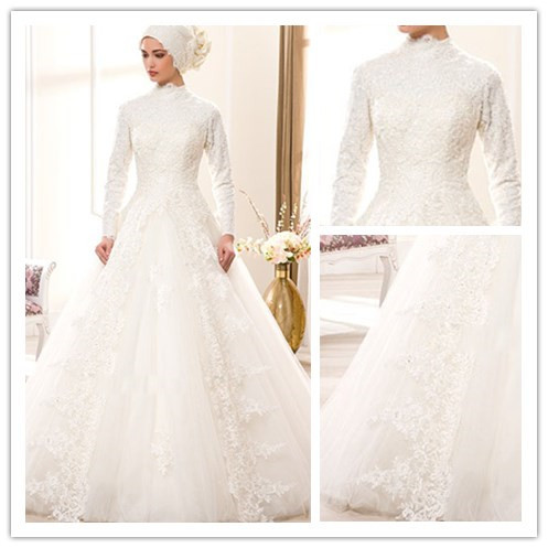 34d00572c9 Buy Modern Plus Size Saudi Arabia Long Sleeve High Collar Lace Muslim  Wedding Dress Dubai Hijab Muslim Bridal Wedding Gown gelinlik in Cheap  Price on ...