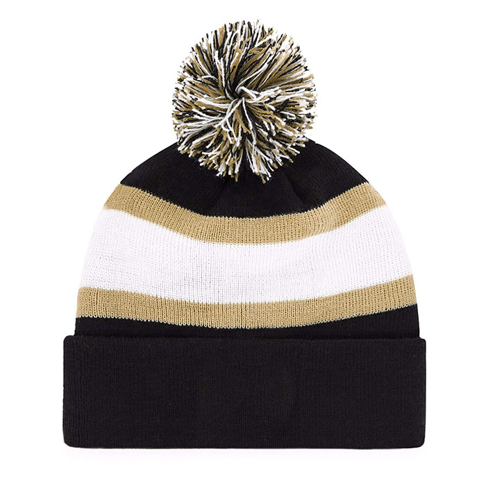 Unisex Adult Jacquard Knit Beanie With pom Rush Down Cuff Knit Cap With Pom 100 Cotton Sideline On Field Sport Knit Hat