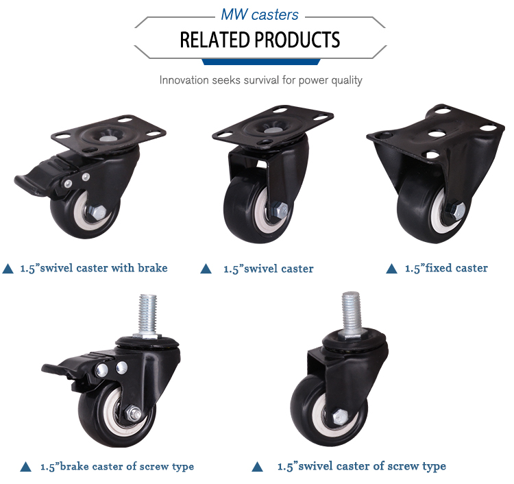 Caster Wheel Shopping Cart 1.5 inch Rotary Wheel Swivel Brake Caster