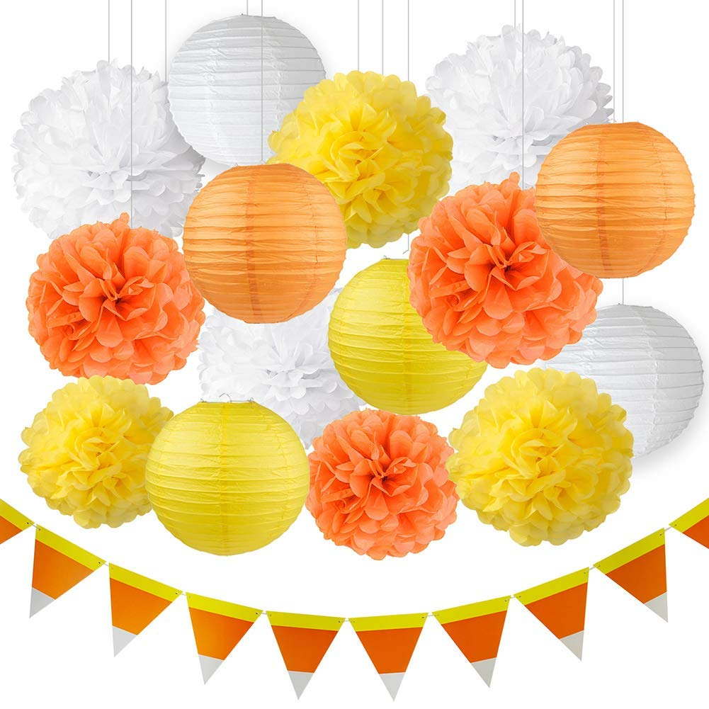 Thanksgiving Decorations Fall Decorations Autumn Decorations Kit Orange Yellow White Hanging Tissue Paper Pom Poms Paper Lanterns Halloween Candy Corn Banner Fall Wedding Decorations