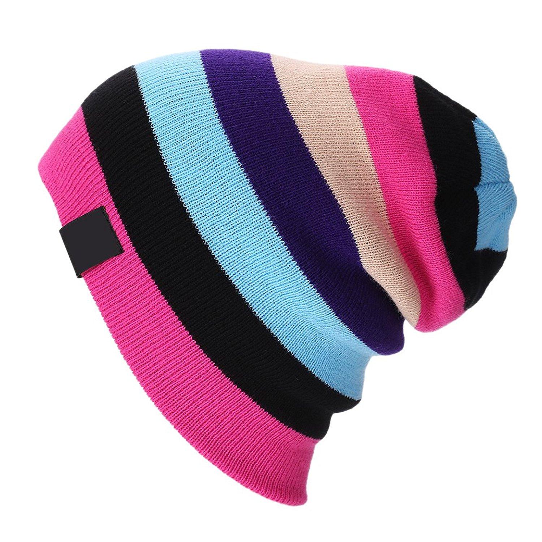 Zhuhaitf Mens Womens Rainbow Color Stripe Knitted Wool Hats Warm Hip-Hop Ski Cap