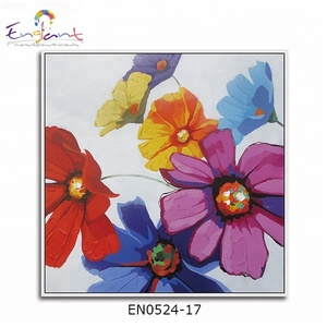 Multicolor flowers oil painting linen canvas roll
