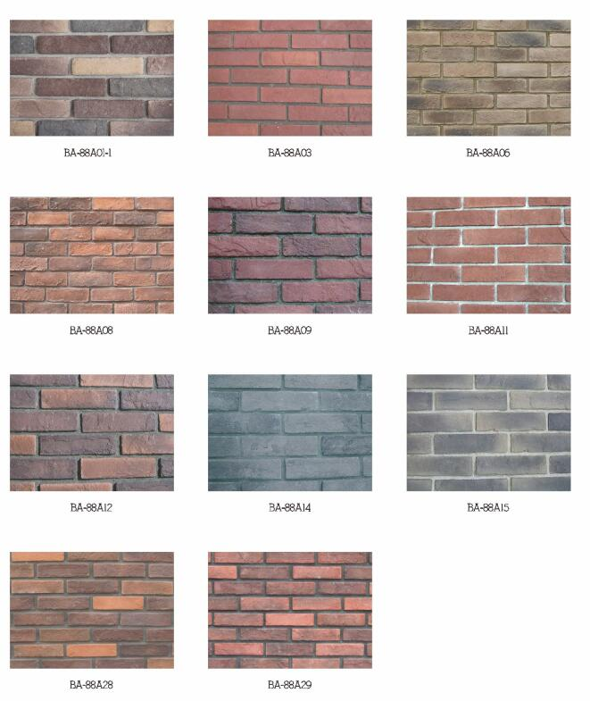 Beige multiple colored brick angle thin antique brick wall cladding
