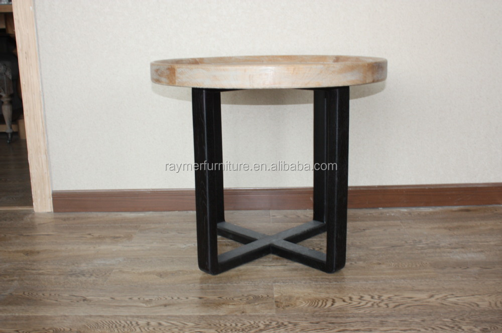 Classic Wrought Iron Table Legs Wooden Table Top Round Table