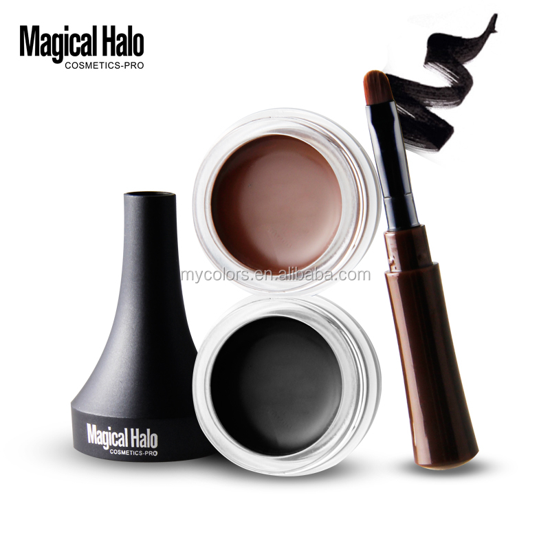 2 colors Waterproof Eyeliner Gel Eye Makeup Eye Liner With Brush 24 Hours Long-lasting Eyelid Black Cosmetic Gel
