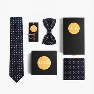 Wholesale Men Bowtie Necktie Handkerchief Clip Set Gift Box Custom Silk Ties Bow Tie for Wedding