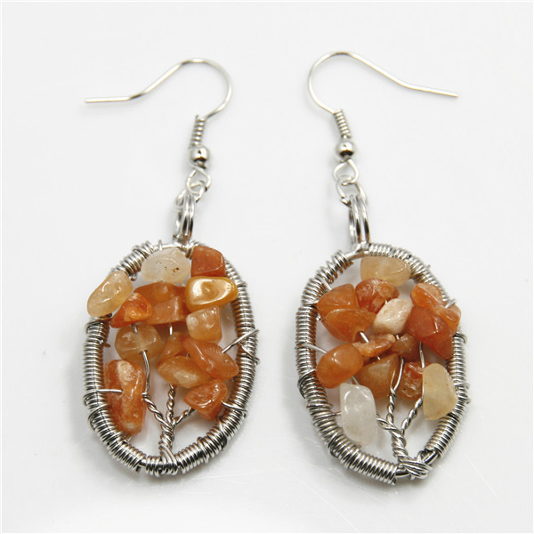 New Fashion Gemstone Crystal Tree of Life Woven Earring With Silver Hooks Gemstone Handmade Earring