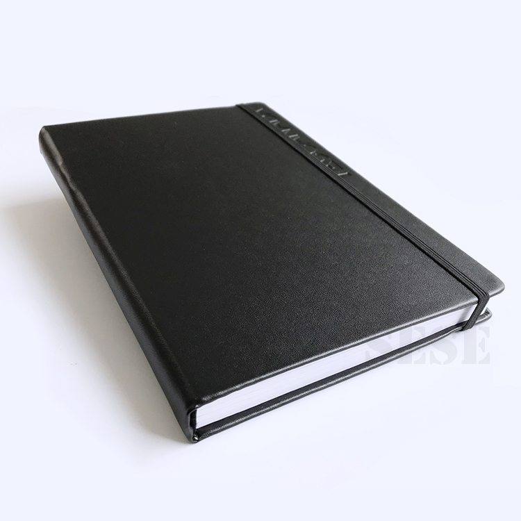 Pu Leather Cover Logo Printed Notebook With Elastic Band