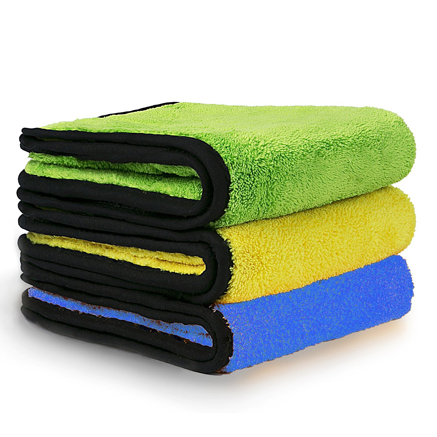 Car Detailing Towels ,Anyyion Dual Layer Ultra-Thick Microfiber Polishing Waxing Drying Cleaning Towel Cloth Car Polishing and Drying Cloth Auto Detailing Towels (3-Pack ; 11.8 x 15.7 inch ,840gsm)