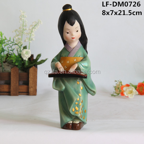 Japan girl guzheng dance statue resin crafts products