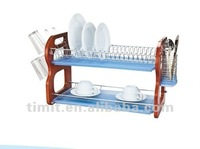 Simple Design Practical High Quality Chrome Plated Blue Wooden cabinet Dish Rack