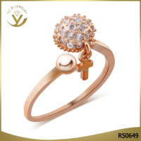 Wholesale design popular jewelry women 18k gold plated cross ball engagement wedding ring