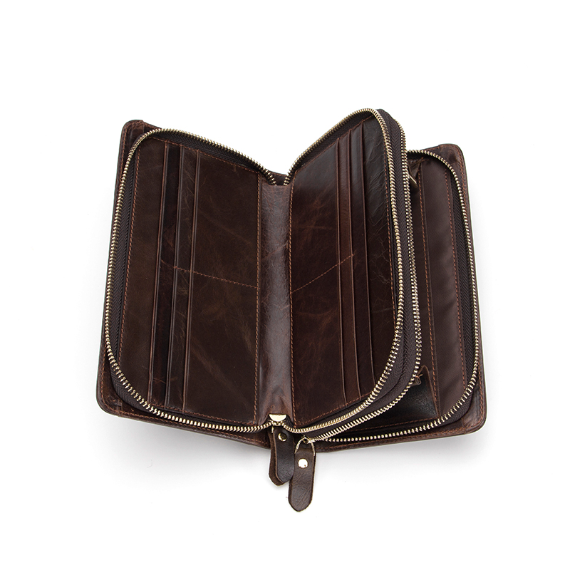 Minimalist Genuine Leather Men's Zip Clutch Long Wallet With Wrist Strap