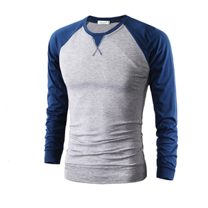 Wholesale Mens Winter Stitching Thick Long Sleeved T-Shirt