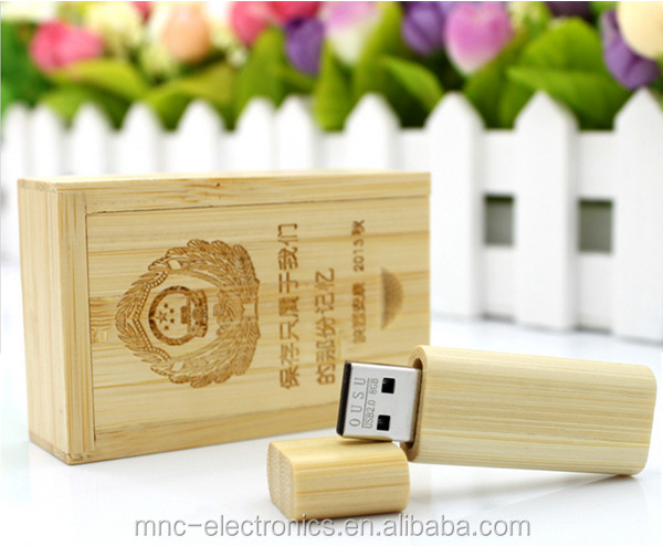 Bulk cheap bamboo material rectangular shape customize laser engraving logo gift box packed 4GB usb flash pen drive stick