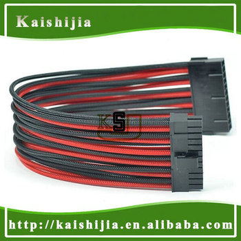 "12"" Red & Black Single Sleeved 24 Pin ATX PSU Power Extension Cable"