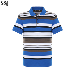 Men Striped Polo Color Combination Short Sleeve Golf T Shirt
