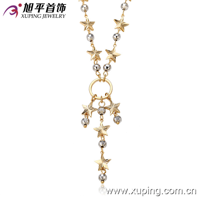 women glow star gold plated necklace