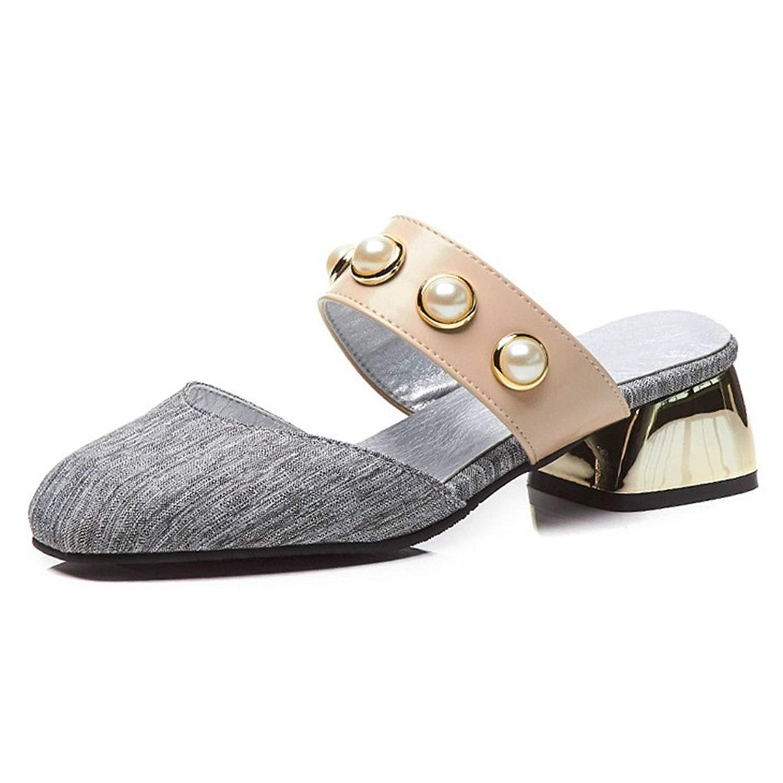 bf7a3ee63 CYBLING Womens Block Heel Slip On Sandals Backless Pearl Embellished Dress  Slide Mule Slippers