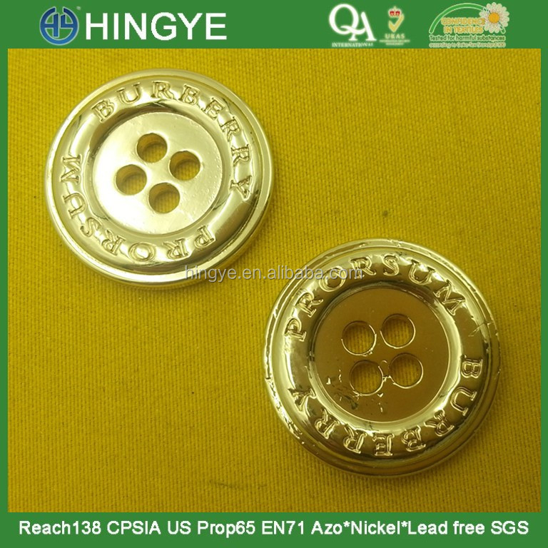 24mm 4 holes Gold High Gloss Metal Button For Coats --- MS5336