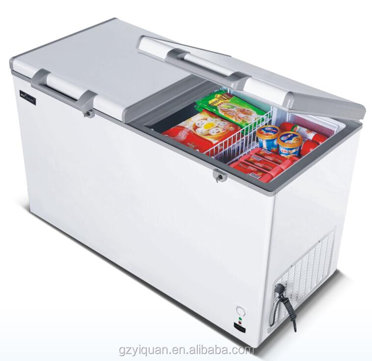 Hot Sales Supermarket Solid Top Two Door Chest Freezer, Top Open Upright  Chest Freezer