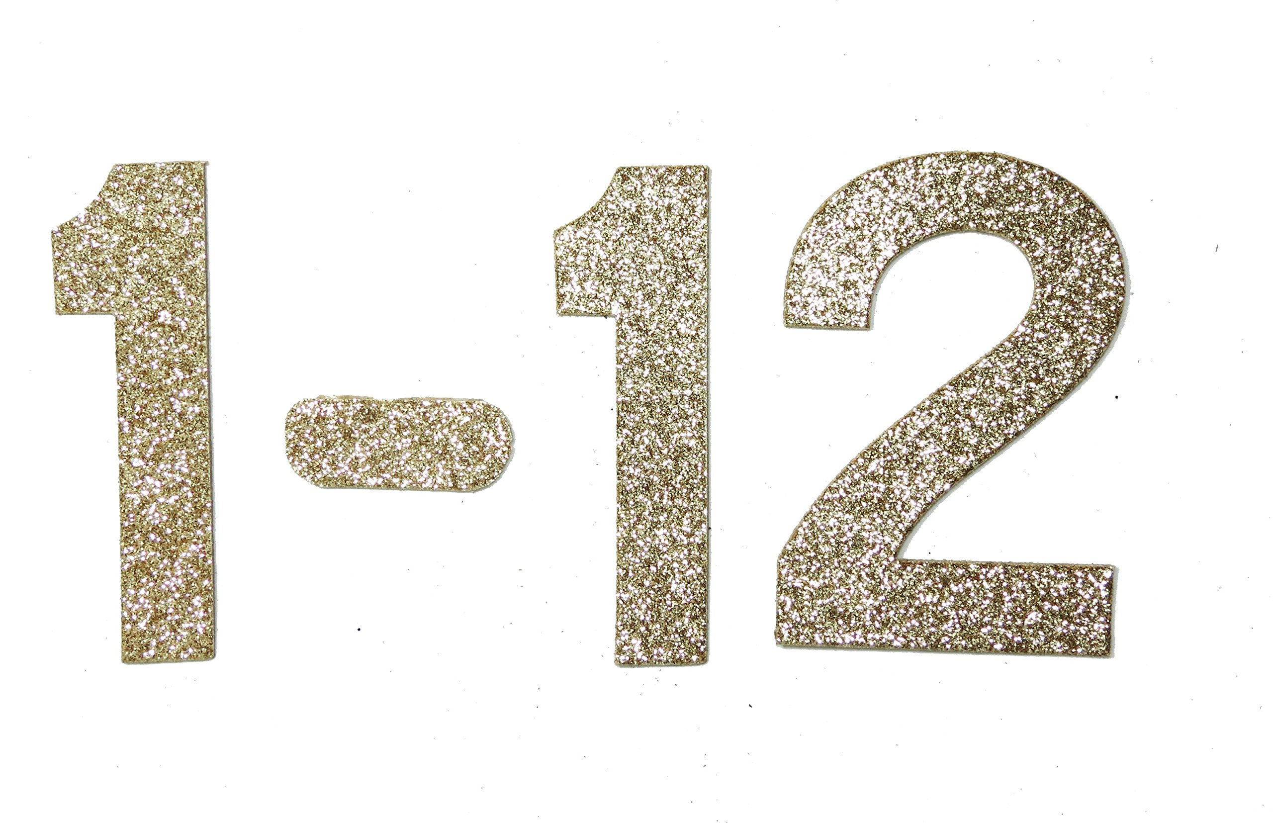 "3"" Gold Gllitter self-adhesive Heavy Chipboard Table Numbers for Wedding / Banquets (#1 to #12)"
