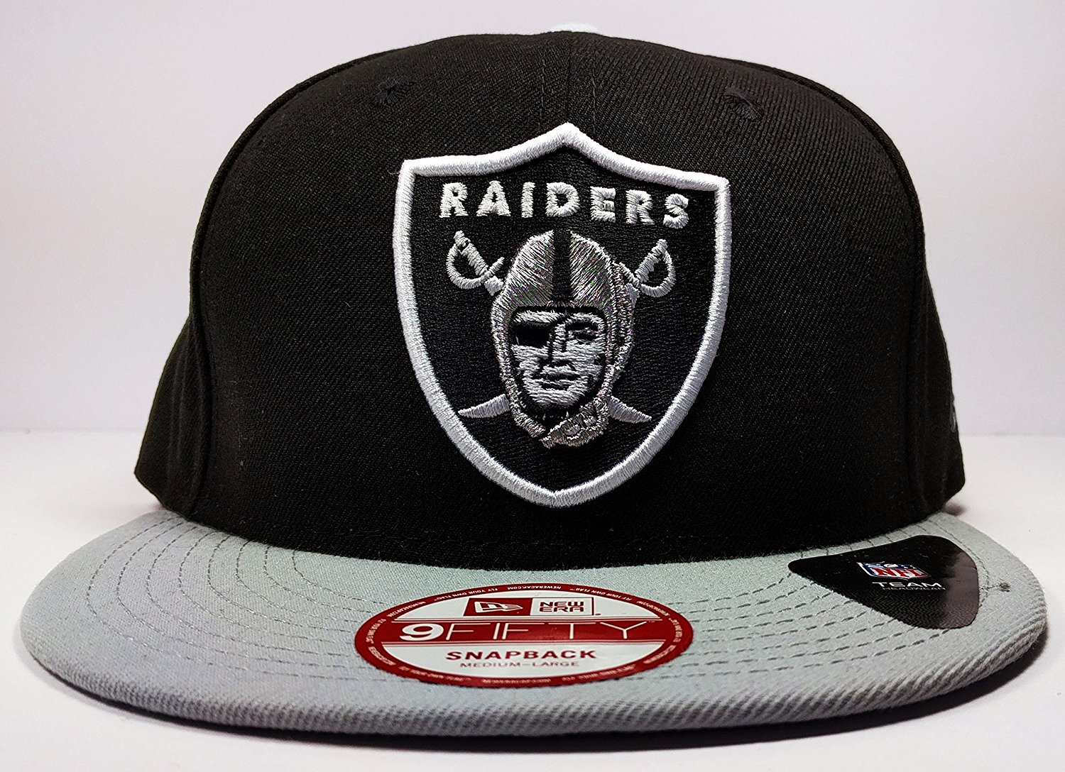 85bd07a8dbf Get Quotations · New Era Los Angeles Oakland Raiders 9Fifty Heather  Graphite Grand Logo Adjustable Snapback Hat NFL