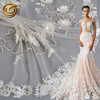 Online shopping luxury poly floral bridal 3d applique pearl beaded tulle fabric