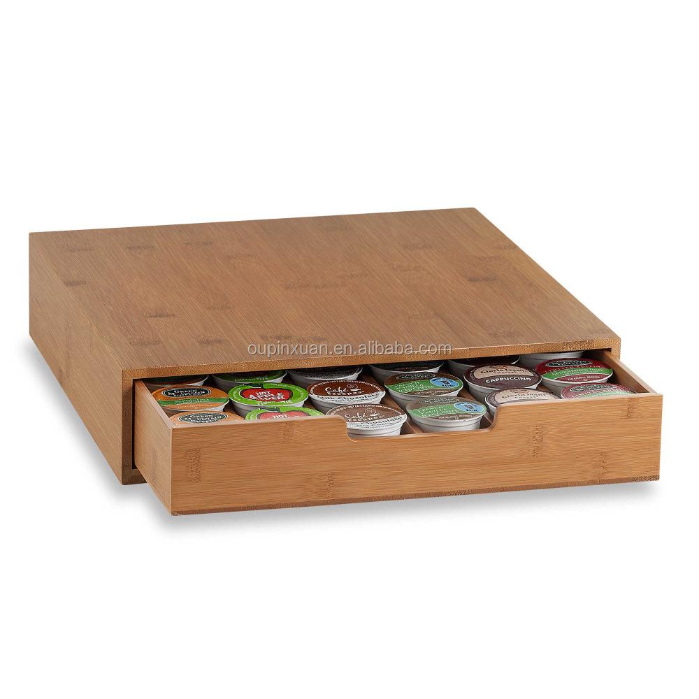 Coffee Pod Storage Drawer Capsules Holder Stand Box Tea 13 25 L X 12 625 W 3 125 H Bamboo