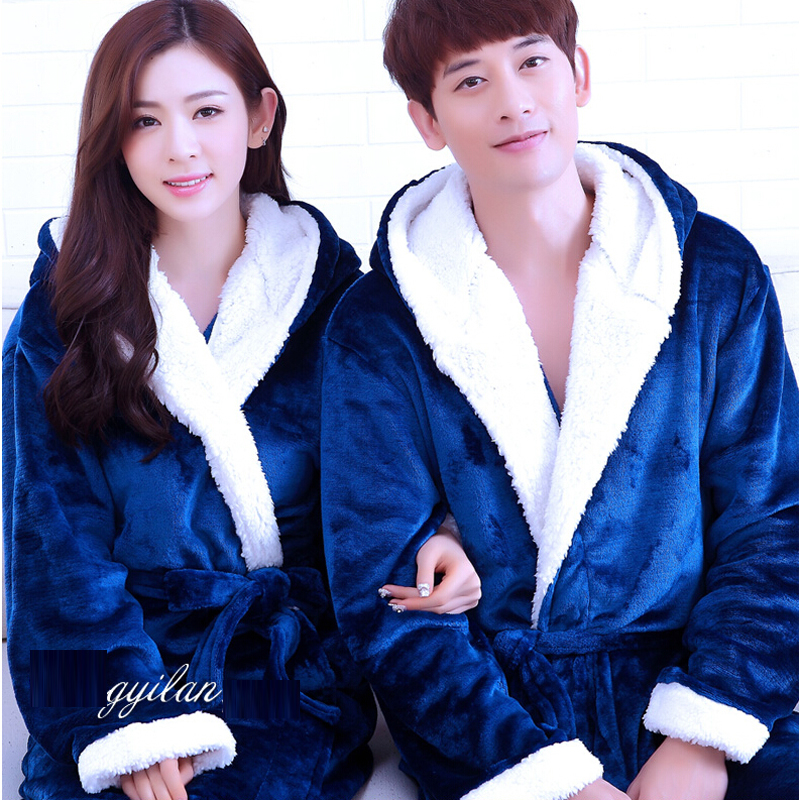 7e8003dd36 2019 Men S Bathrobe 2017 Winter Flannel Hooded Bathrobe Male Kimono ...