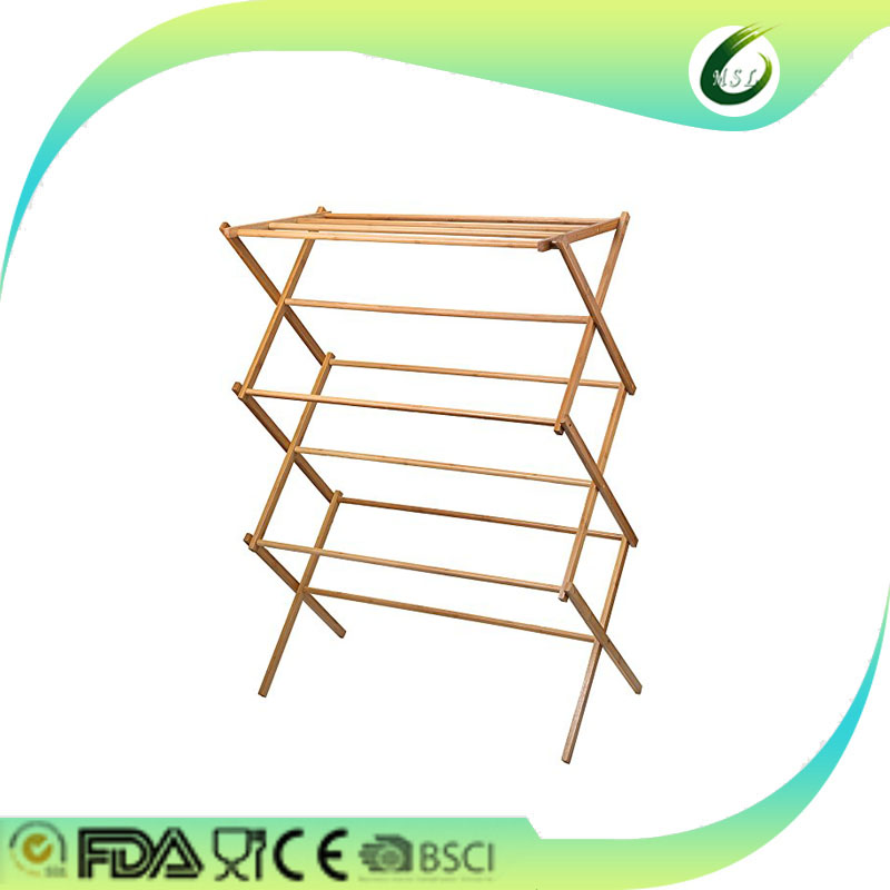 bamboo folding foldable hanging clothes laundry drying rack