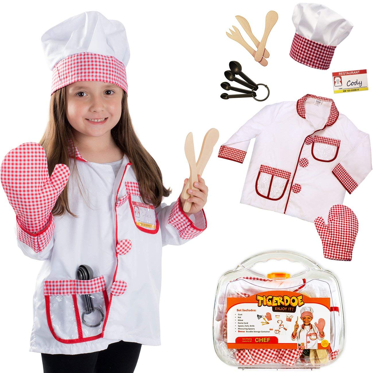 Kids Chef Role Play Costume Set Includes Apron Chef Hat for Little Girls Chef Set Toddler Dress up Pretend Play Kitchen Chef Costume Set-13pcs Baking Sets Great Gift/'s for 3 Year Olds Kids and Up