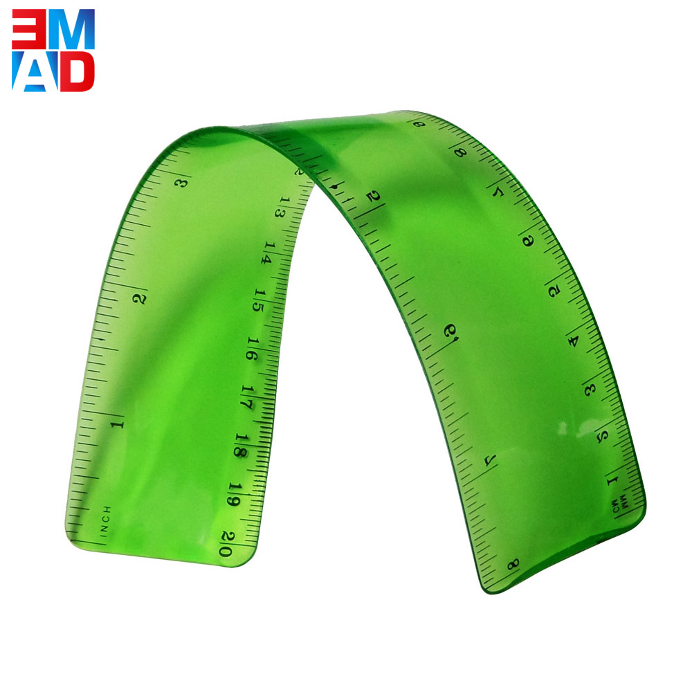 Flexible PVC 20cm plastic soft curve ruler for office