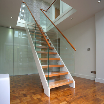 Modern Apartment Indoor Iron Staircase Design White Metal Stairs