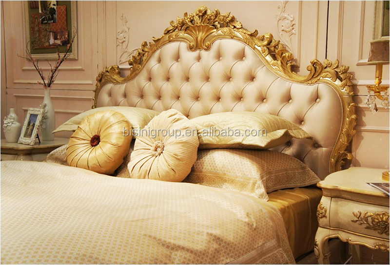 Luxury Elegant Italian Gold Carved Solid Wood Crown Bed BF11-01281a