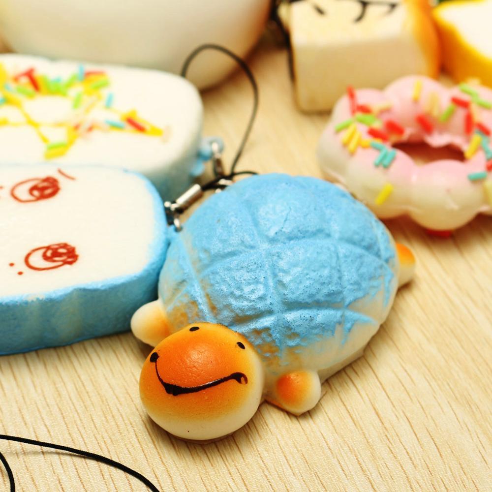 Wholesale Soft Mini Slow Rising Buns Bread Banana Cake Emoji Panda Food Squishy Ball Toys 20 pieces