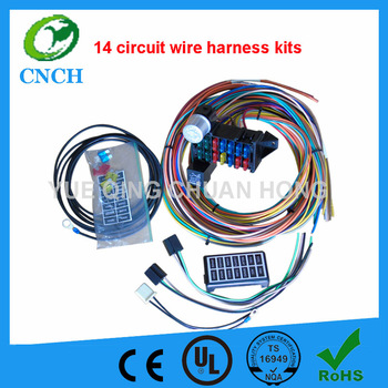 12V 14 Fuse Circuit Wire Harness kits Auto spare Parts wire for Muscle car hot steet rad, trucks