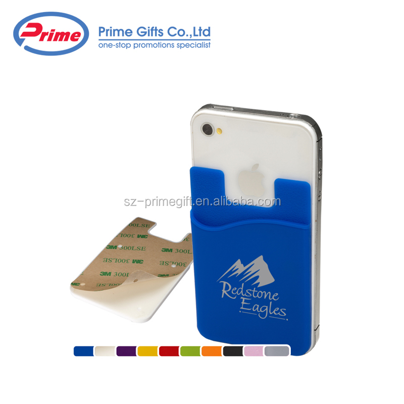 Custom Logo Printed Silicone Credit Card Holder Wallet with 3M Sticker