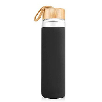 550ml Bamboo Lid Glass Sport Water Bottle with Silicone Sleeve
