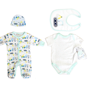 Newborn Baby Blue Cotton Outfits Cartoon Baby Clothes 5Pc Set