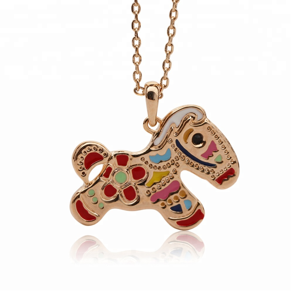 <strong>Cute</strong> Enamel Litte Horse Pony Animal <strong>Necklace</strong> for Women or Kids