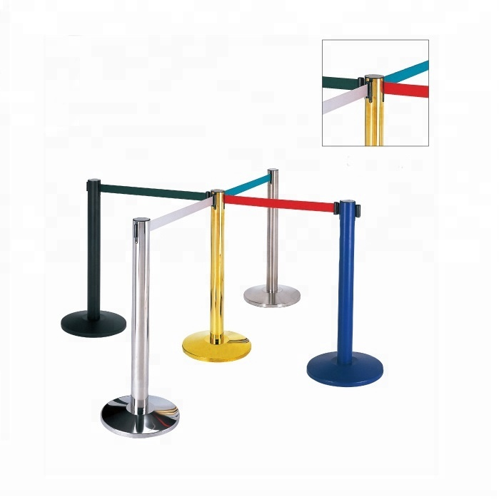 Queue Line Stand Post Retractable Queue Pole Crowd Control Barrier With Tape