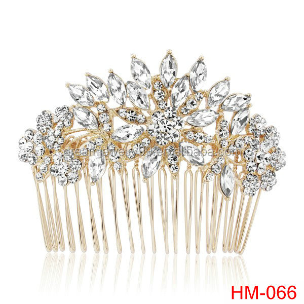 full rhinestone shiny flower bridal combs golden treasure crystal wedding hair comb