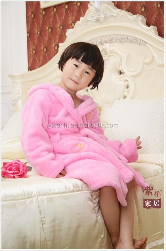 Cute kids pink microfiber bathrobe Manufacturer from Factory