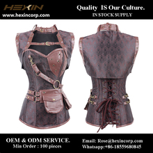 Wholesale high neck overbust sexy brown steampunk corset