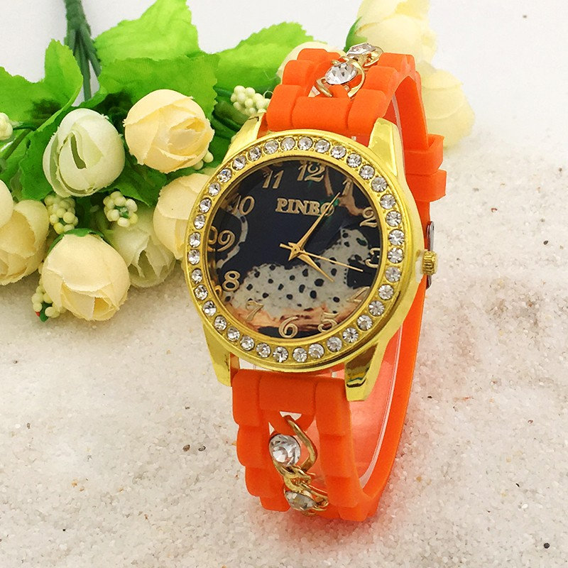 New Fashion PINBO Brand Casual Quartz Watch Women Crystal Leopard Silicone Watches Dress Wrist Watch