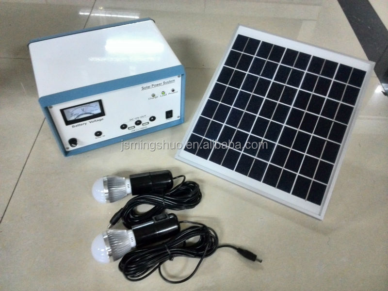 Portable solar power home system with 2 led bulbs