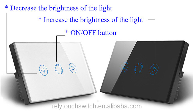 Crystal Tempered Glass Panel Touch Dimmer Switch US/AU Standard 1 Gang 1 Way Dimmer Light Switch